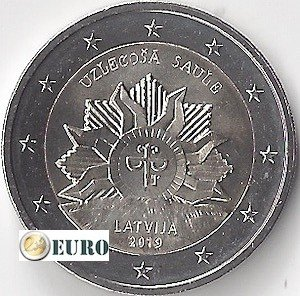 2 euro Lettland 2019 - Wappen - Aufgehende Sonne UNC