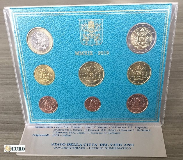 KMS Vatikan 2019 Stgl. Euro set BU FDC