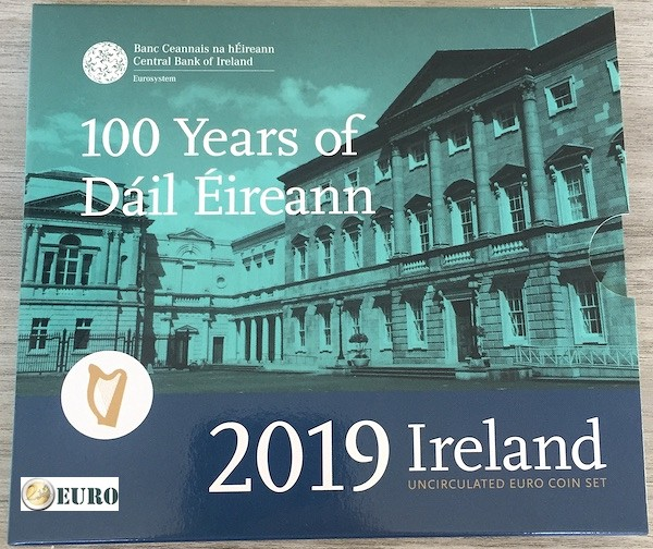 Euro set BU FDC Ireland 2019 + 2 euro Dail