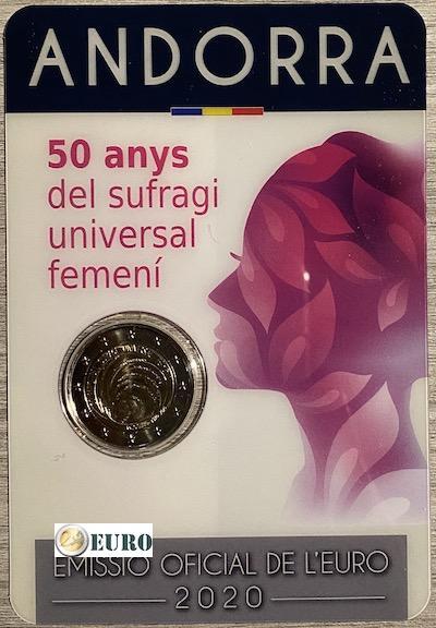 2 euro Andorra 2020 - 50 Jahre Frauenwahlrecht BU FDC Coincard