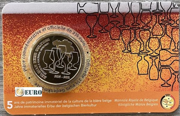 2,50 Euro Belgien 2021 - Bierkultur 5 Jahre Erbe Bier BU FDC Coincard FR