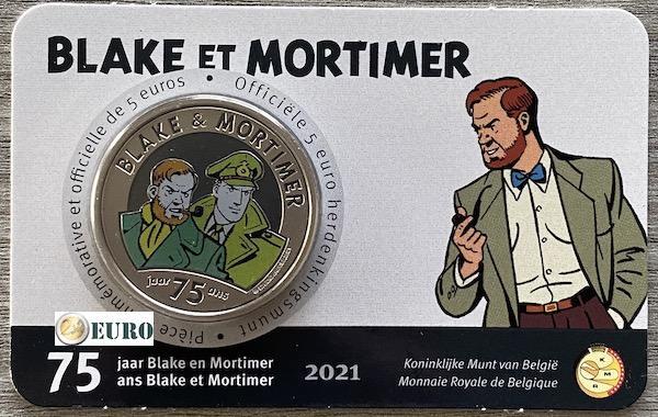 5 euro Belgien 2021 - Blake und Mortimer Stgl. BU FDC Coincard Farbig