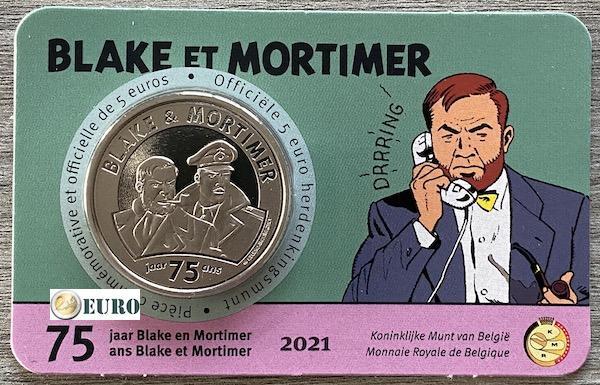 5 euro Belgien 2021 - Blake und Mortimer Stgl. BU FDC Coincard Relief
