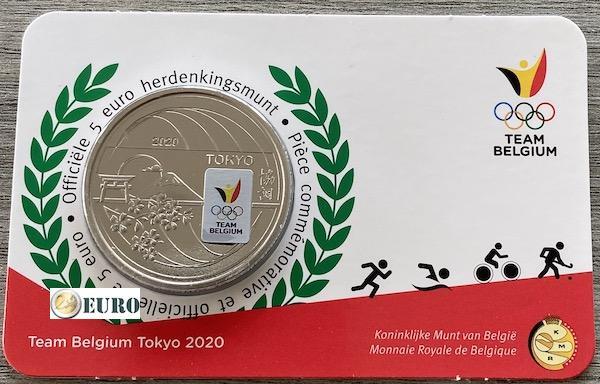 5 euro Belgien 2021 - Team Belgium Tokio Stgl. BU FDC Coincard Farbig
