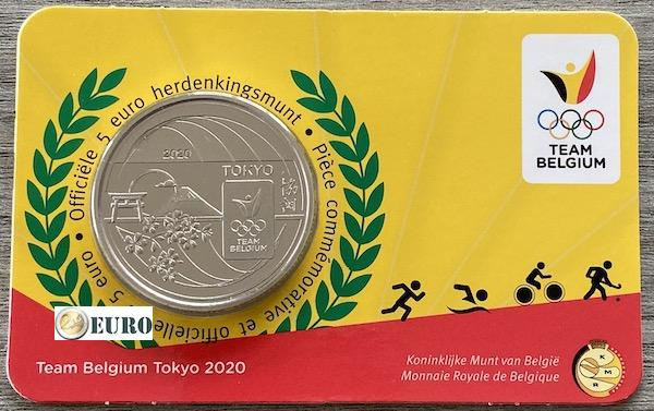 5 euro Belgien 2021 - Team Belgium Tokio Stgl. BU FDC Coincard Relief