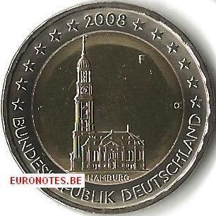 Germany 2008 - 2 euro F Hamburg UNC
