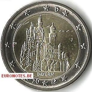 Germany 2012 - 2 euro J Bavaria UNC