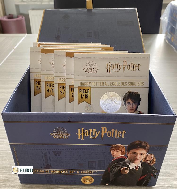 9 x 10 euro Frankreich 2021 - Harry Potter UNC Silber - Band 1 + Sammelbox
