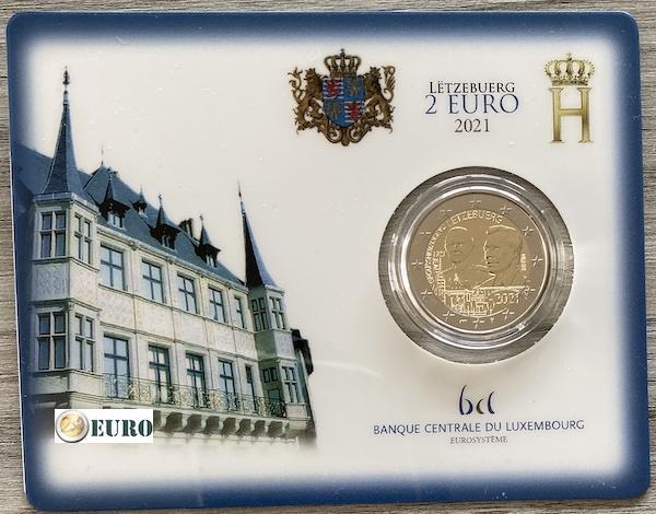 2 Euro Luxemburg 2021 - 100. Geburtstag Jean Stgl. BU FDC Coincard