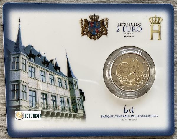 2 Euro Luxemburg 2021 - 40. Hochzeitstag Henri Stgl. BU FDC Coincard