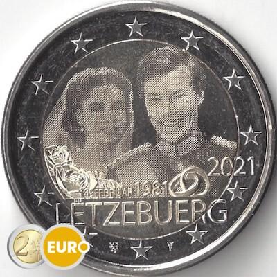 2 Euro Luxemburg 2021 - 40. Hochzeitstag Henri UNZ UNC Foto