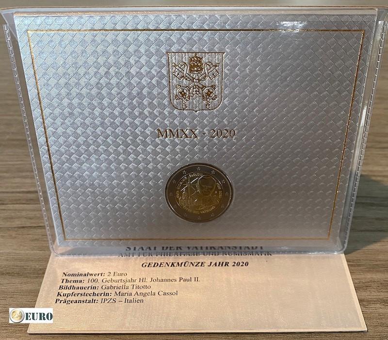 2 euro Vatikan 2020 - 100 Jahre Papst Johannes Paul II BU FDC