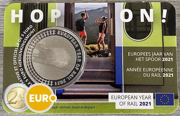 5 euro Belgien 2021 - Europäisches Jahr der Schiene Stgl. BU FDC Coincard