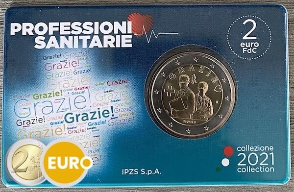 2 euro Italien 2021 - Grazie Gesundheitswesen Stgl. BU FDC Coincard