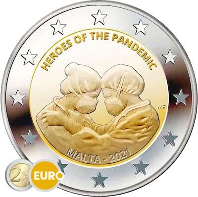 2 euro Malta 2021 - Helden der Pandemie Stgl. BU FDC Coincard Münzzeichen MdP Fullhorn