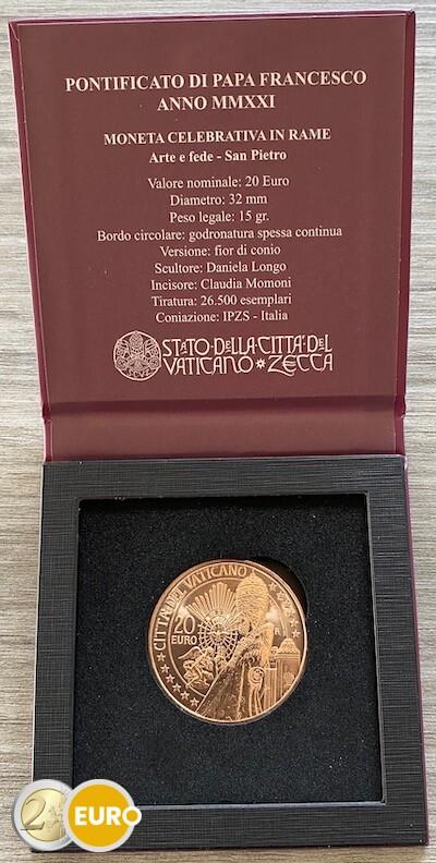 20 Euro Vatikan 2021 - Sankt Peter UNZ UNC Kupfer