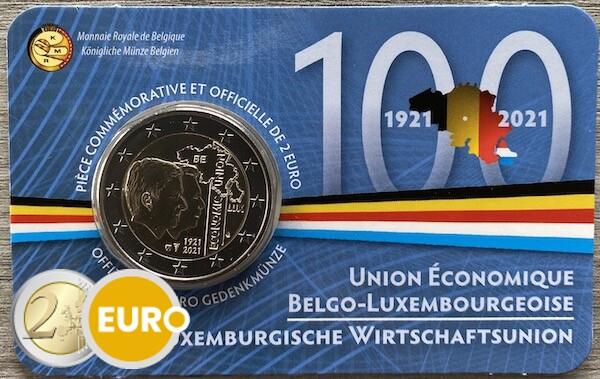 2 euro Belgien 2021 - Wirtschaftsunion BU FDC Coincard FR