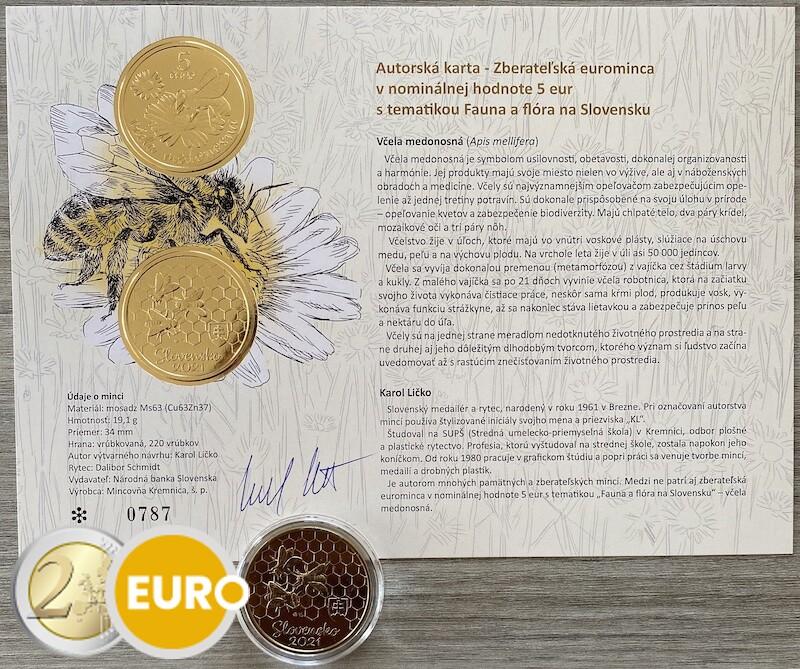 5 euro Slowakei 2021 - Honigbiene UNZ UNC mit Echtheitszertifikat